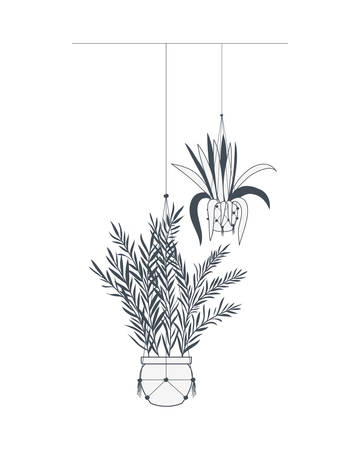 houseplants on macrame hangers icon vector illustration design 向量圖像