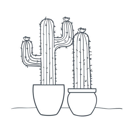 cactus with potted isolated icon vector illustration design Ilustrace
