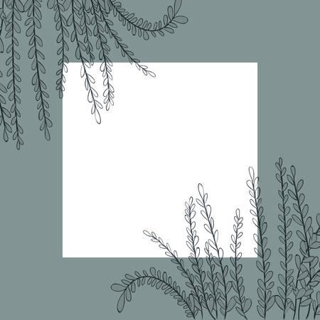 frame with flowers and leafs golden vector illustration design Banco de Imagens - 122821049