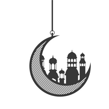 moon hanging with ramadan kareem mosque buildings vector illustration design