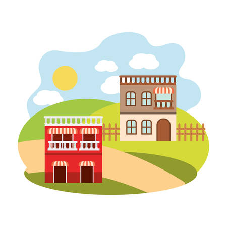 neighborhood houses in landscape isolated icon vector illustration design 矢量图像