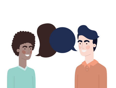 men with speech bubble avatar character vector illustration design Ilustração