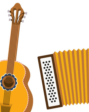 guitar and accordion isolated icon vector illustration design