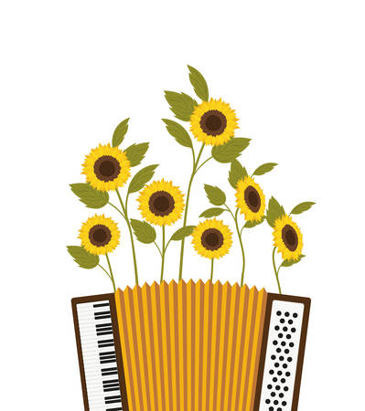 accordion with sunflowers isolated icon vector illustration design Illustration