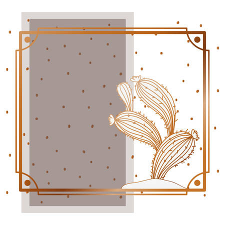 pattern cactus with frame golden isolated icon vector illustration design Illusztráció