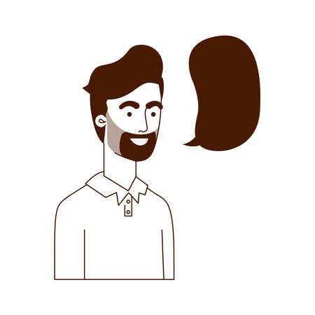 man with speech bubble avatar character vector illustration design  イラスト・ベクター素材