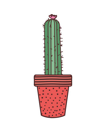 cactus with potted isolated icon vector illustration design Ilustração