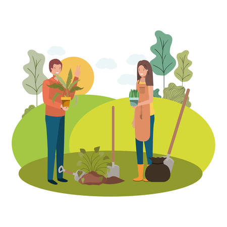 couple with trees to plant in landscape vector illustration design Ilustrace