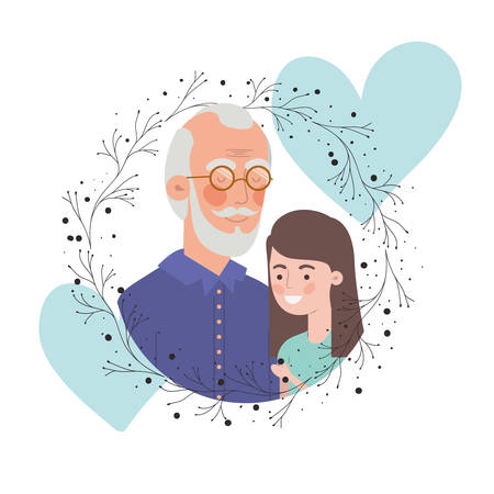 girl and grandfather with garland character vector illustration design