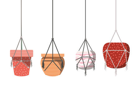 flower pots in macrame hangers icon vector illustration design Imagens - 122785066
