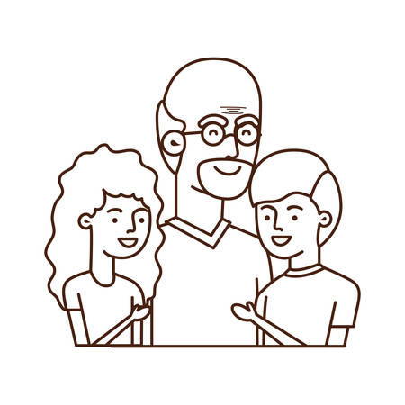 grandfather with children avatar character vector illustration design
