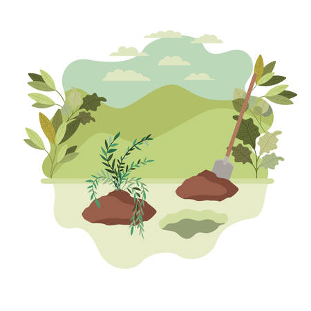 trees to plant in landscape isolated icon vector illustration design