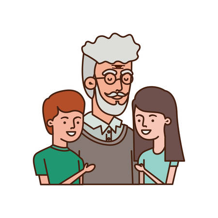 grandfather with children hugging avatar character vector illustration design