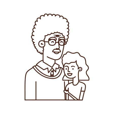 girl and grandfather avatar character vector illustration design