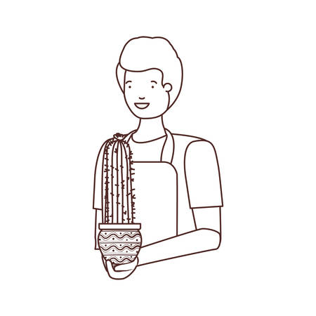 man with cactus avatar character vector illustration design