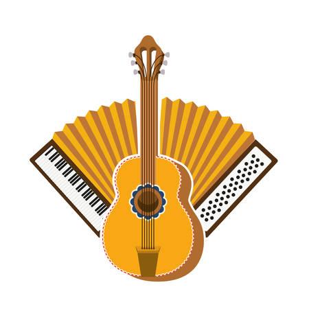 Gitarre und Akkordeon isoliert Symbol Vektor Illustration Design Vektorgrafik