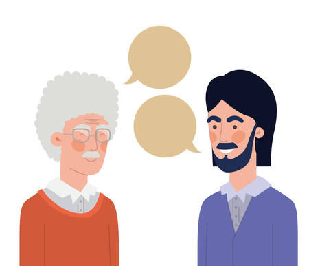 father with son and speech bubble vector illustration design