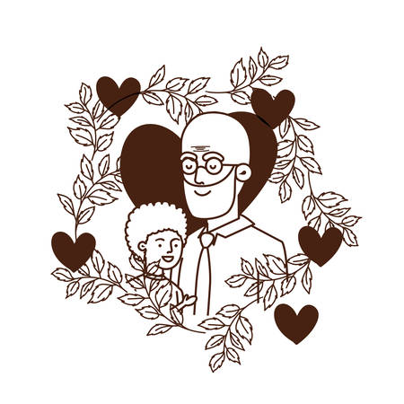 boy and grandfather with garland character vector illustration design