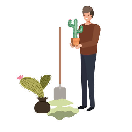 man with cactus to plant avatar character vector illustration design