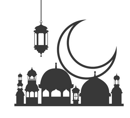 ramadan kareem mosque building with moon vector illustration design Ilustração
