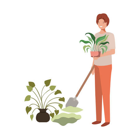 man with tree to plant avatar character vector illustration design Illustration