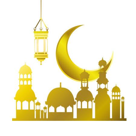 ramadan kareem mosque building with moon vector illustration design