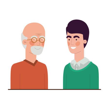 Père avec fils parler de conception d'illustration vectorielle de caractère avatar Vecteurs
