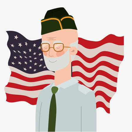 memorial day card with veteran and usa flag vector illustration design Ilustrace