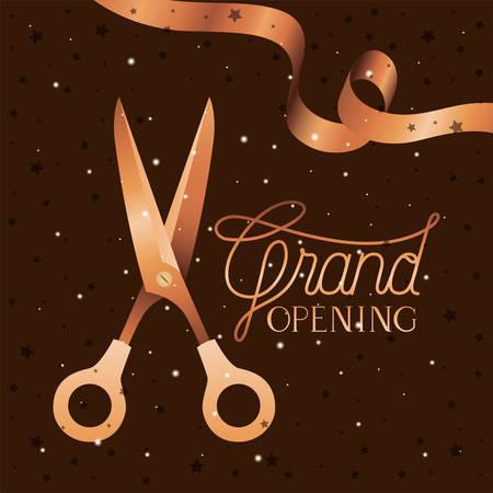 grand opening message with scissors cutting golden tape vector illustration design Ilustração