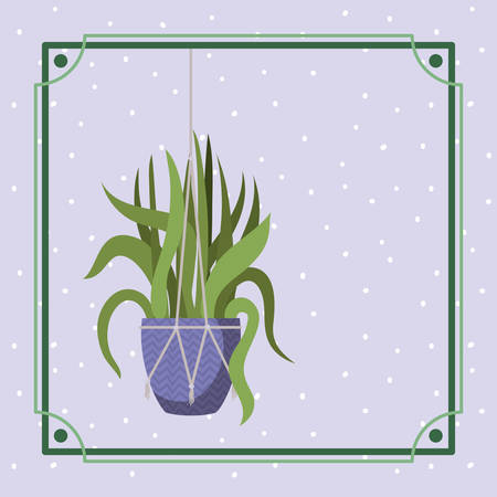 frame with houseplant hanging in macrame vector illustration design 向量圖像