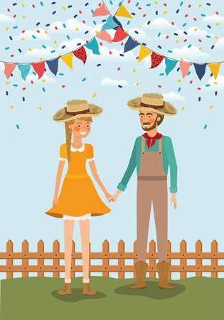 Couple d'agriculteurs célébrant avec des guirlandes et conception d'illustration vectorielle de clôture