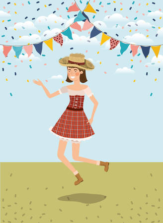 agricultrice célébrant avec des guirlandes vector illustration design