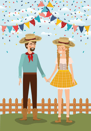 farmers couple celebrating with garlands and fence vector illustration design Vettoriali