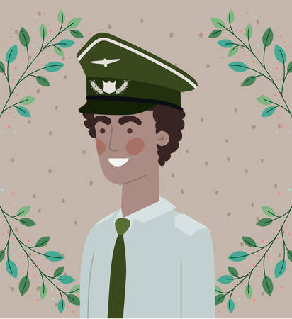 military man with leafs wreath frame vector illustration design 向量圖像
