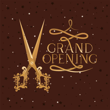 grand opening message with scissors cutting golden tape vector illustration design Çizim