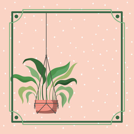 frame with houseplant hanging in macrame vector illustration design Ilustração