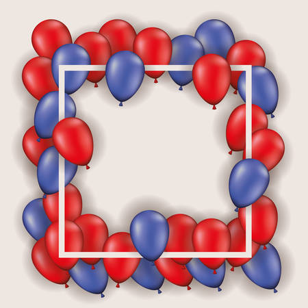 square frame with balloons heliun reds and blues vector illustration design Illustration