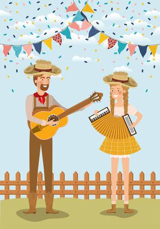 farmers couple celebrating with garlands and fence vector illustration design Ilustração