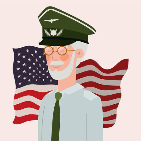 memorial day card with veteran and usa flag vector illustration design 向量圖像