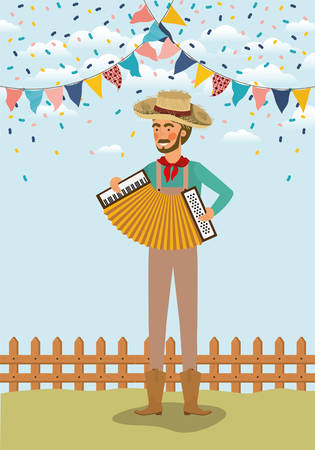 young farmer playing accordion with garlands and fence vector illustration design Иллюстрация
