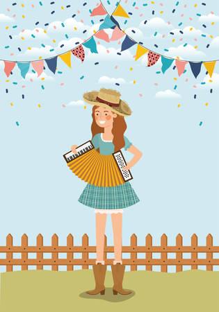 agricultrice jouant de l'accordéon avec des guirlandes et clôture vector illustration design