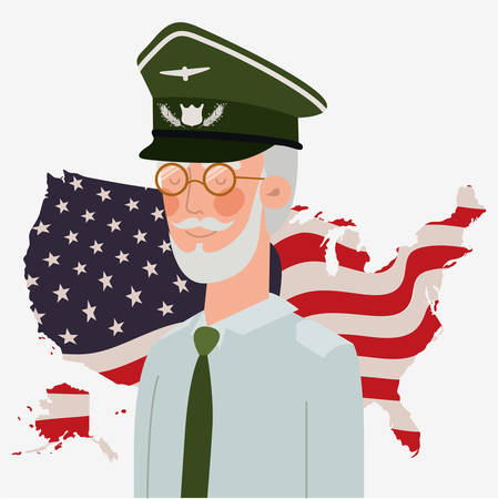 memorial day card with veteran and usa flag in map vector illustration design 向量圖像