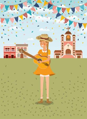 Agricultrice jouant de la guitare avec des guirlandes et la conception d'illustration vectorielle de paysage urbain