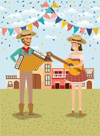 farmers couple playing instruments with garlands and cityscape vector illustration Иллюстрация