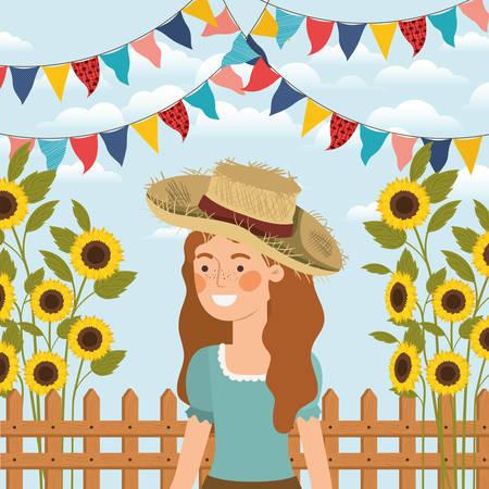 agricultrice célébrant avec des guirlandes et clôture vector illustration design