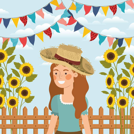 female farmer celebrating with garlands and fence vector illustration design