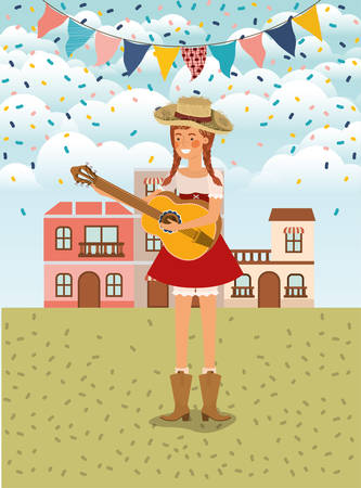 female farmer playing guitar with garlands and cityscape vector illustration design Иллюстрация