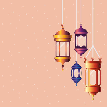 ramadan kareem colors lanterns hanging vector illustration design 矢量图像