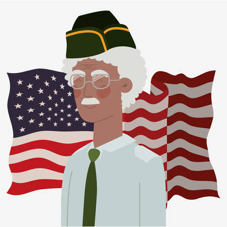 memorial day card with afro veteran and usa flag vector illustration design