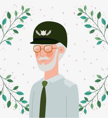 veteran military celebration crd with leafs vector illustration design 向量圖像